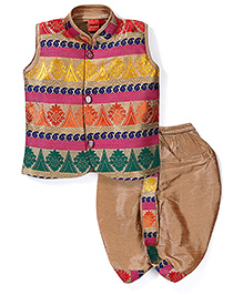 Ethnik's Neu Ron Sleeveless Kurta & Dhoti Set - Burlywood & Multicolor