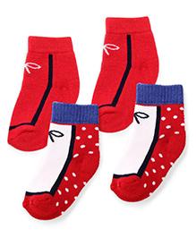 Cute Walk by Babyhug Anti Bacterial Socks Pack of 2 - Red