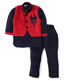 Babyhug Full Sleeves Kurta And Jodhpuri Breeches With Jacket Embroidery - Navy Red