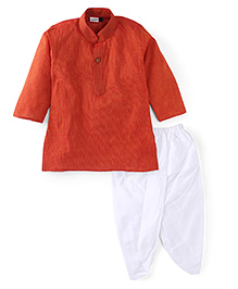 Babyhug Full Sleeves Stripe Kurta And Dhoti - Red White