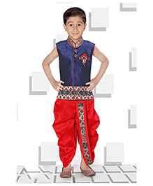 Babyhug Sleeveless Kurta And Dhoti Set - Navy And Red