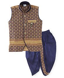 Babyhug Sleeveless Kurta And Dhoti Set - Navy Blue & Golden