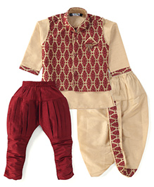 Babyhug Kurta Jacket Dhoti And Jodhpuri Breeches Set - Maroon & Cream