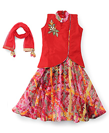 Babyhug Sleeveless Top Ghagra With Dupatta - Red