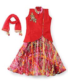 Babyhug Sleeveless Top Ghagra With Dupatta - Red