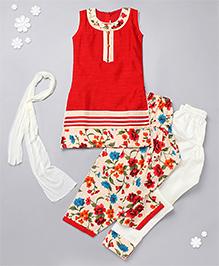 Babyhug Sleeveless Kurti Churidar And Salwar Set - Red & Cream