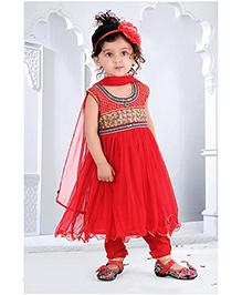 Babyhug Sleeveless Kurti & Churidar Set - Red
