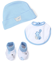 Morisons Baby Dreams Cap, Bib And Booties Set Teddy Print - Blue