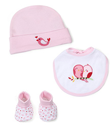 Morisons Baby Dreams Cap, Bib And Booties Set Birdy Print - Pink