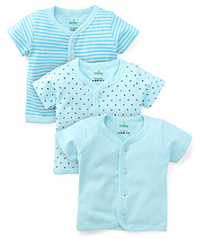 Babyhug Half Sleeves Jhabla Vests Pack of 3 - Aqua Blue