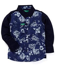 Palm Tree Full Sleeves Floral Printed Shirt - Deep Blue & Navy