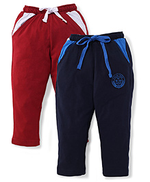Palm Tree Drawstring Track Pant Pack Of 2 - Navy Blue & Dark Maroon