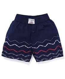 Palm Tree Boxer Shorts Text Print - Navy Blue