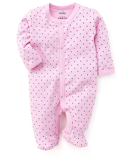 Babyhug Full Sleeves Dotted Footed Sleepsuit - Pink
