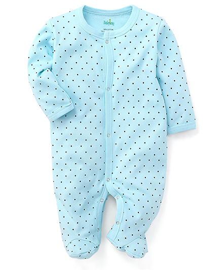 Tiny polka Babyhug Full Sleeves Dotted Footed Sleepsuit - Blue