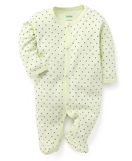 Babyhug Full Sleeves Dotted Footed Sleepsuit - Green