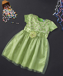 Babyhug Short Sleeves Party Frock Flower Applique - Green
