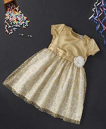 Babyhug Short Sleeves Party Frock Flower Applique - Golden