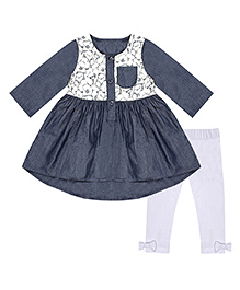Chicabelle Lace Dress With Legging - Grey & White