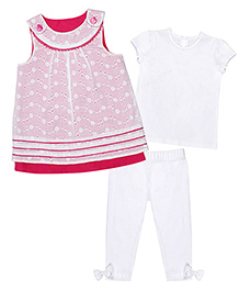 Chicabelle Short Sleeve Dress With Legging & T-Shirt - White & Pink