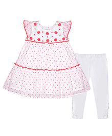 Chicabelle Cap Sleeve Dress With Legging - Neon Orange & White
