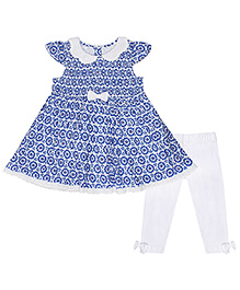 Chicabelle Pretty Dress With Legging - White & Blue