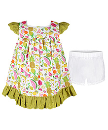 Chicabelle Baby Girl Dress With Bloomer - Green