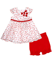 Chicabelle Cap Sleeve Baby Girl Dress With Bloomer - White & Red