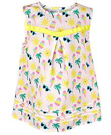 Chicabelle Printed Sleeveless Baby Girl Dress - Multicolour