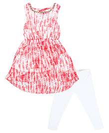 Chicabelle Sleeveless Dress With Tights - White & Pink