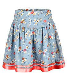 Chicabelle Floral Print Skirt - Light Blue