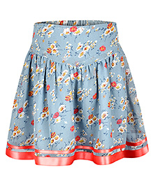 Chicabelle Floral Print Skirt - Light Blue