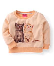 Button Noses Full Sleeves Kitty Print Sweatshirt - Peach