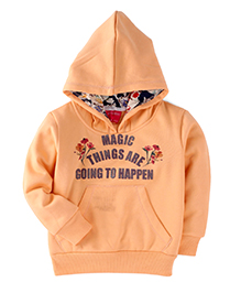 Button Noses Hooded Sweatshirt Magic Things Are Going To Happen Print - Peach