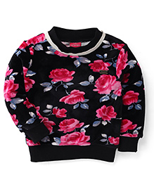Button Noses Full Sleeves Floral Print Sweatshirt - Pink & Black