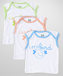 Ohms Sleeveless Vests White Base Pack of 3 - Blue Peach Green