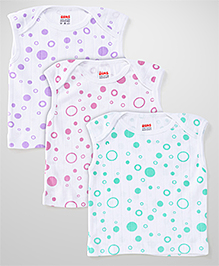 Ohms Sleeveless Vests White Base Pack of 3 - Sea Green Pink Purple