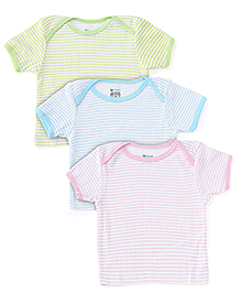 Ohms Half Sleeves Vests White Base Pack of 3 - Pink Blue Green
