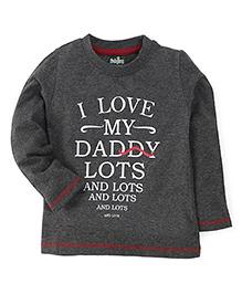 Babyhug Full Sleeves T-Shirt Quoted Print - Charcoal Grey