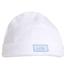 NeedyBee  Solid Beanie For Newborn - White