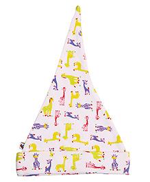 NeedyBee Giraffe Print Beanie For Newborn - Multi Color