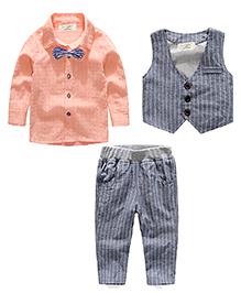 Pre Order - Lil Mantra Boys Three Piece Set - Grey & Orange