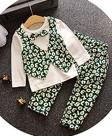 Lil Mantra Number Print Fake Jacket Top & Pant Set - Green & White