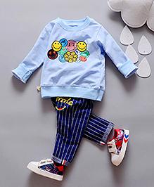 Pre Order - Lil Mantra Printed Full Sleeves Tees With Pant - Blue