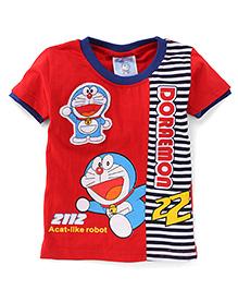 Eteenz Half Sleeves T-Shirt Doraemon Print - Red