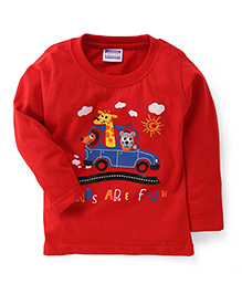E-Todzz Full Sleeves T-Shirt Roads Are Fun Print - Red