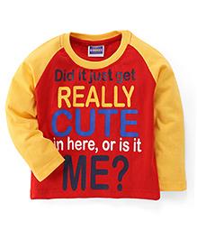 E-Todzz Full Sleeves T-Shirt Really Cute Print - Red