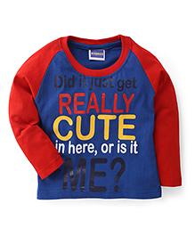 E-Todzz Full Sleeves T-Shirt Really Cute Print - Blue