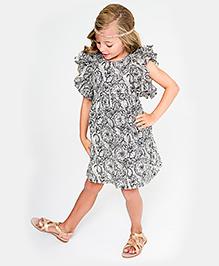 Yo Baby Ruffle Sleeve Shift Dress - Black & White