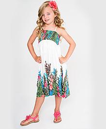 Yo Baby Floral Shift Dress - White & Turquoise